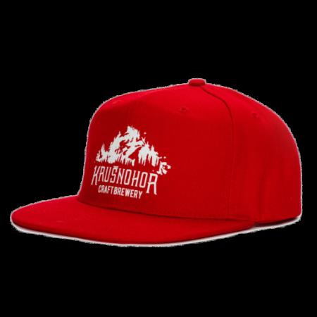 Kšiltovka Krušnohor červená s bílým potiskem